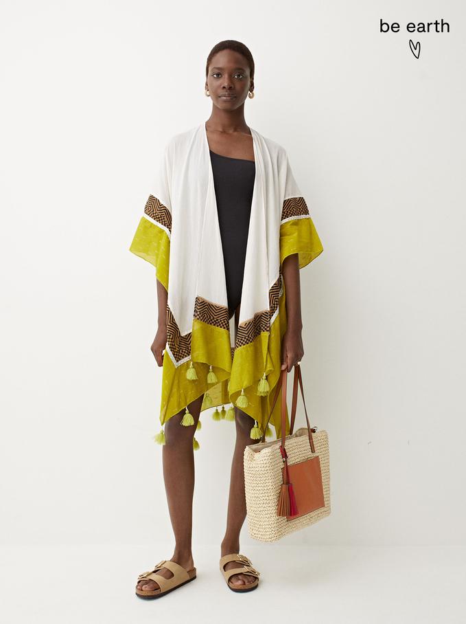 100% Cotton Kimono With Tassels, Ecru, hi-res