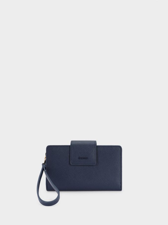 Embossed Wallet With Handle, Navy, hi-res