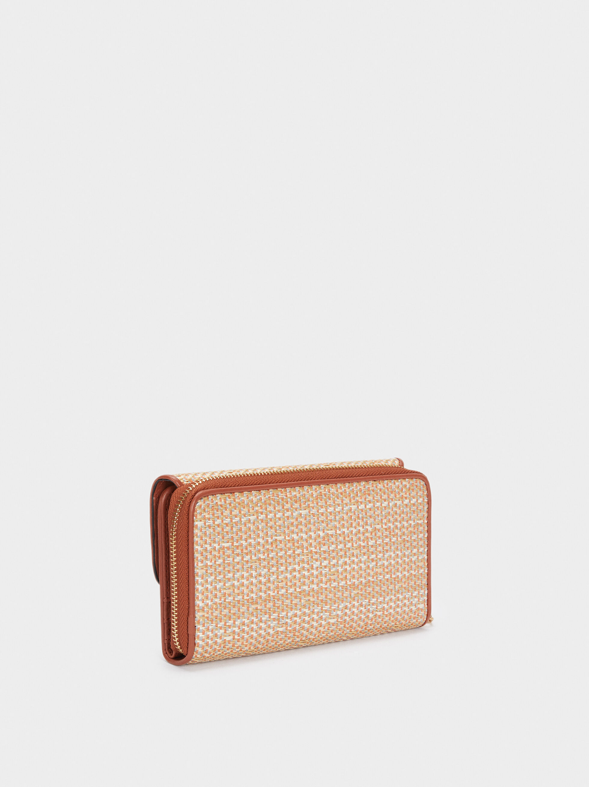 Straw-Textured Wallet With Front Flap Fastening, Pink, hi-res