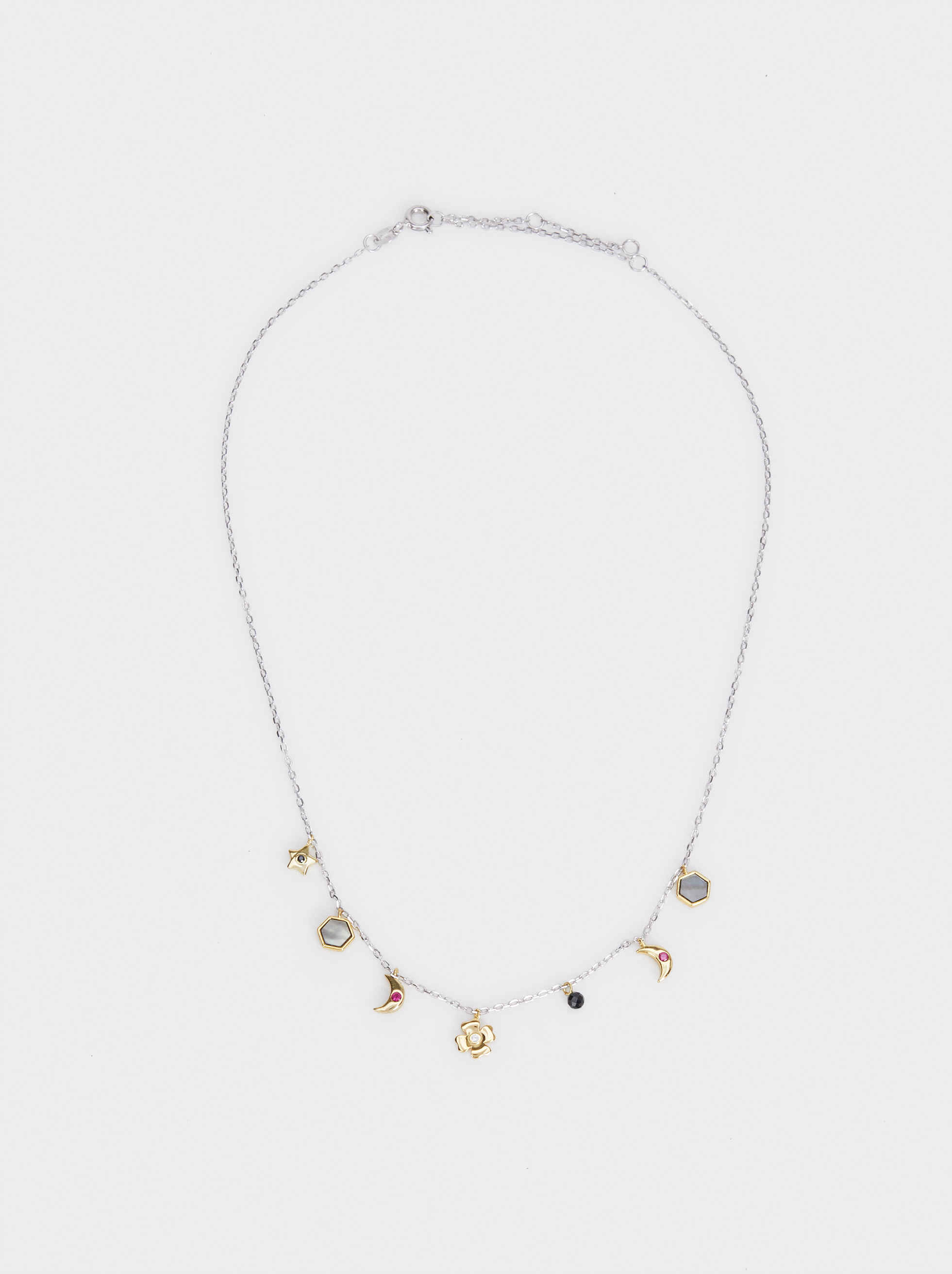 Short 925 Silver Necklace With Pendants, Multicolor, hi-res