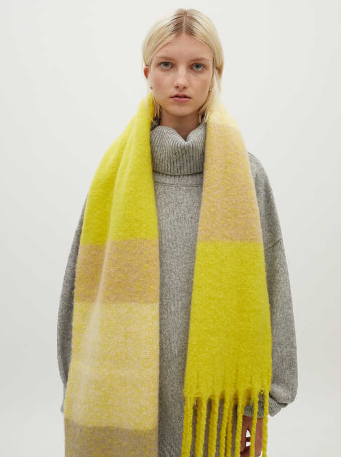 Printed Maxi Scarf, Yellow, hi-res