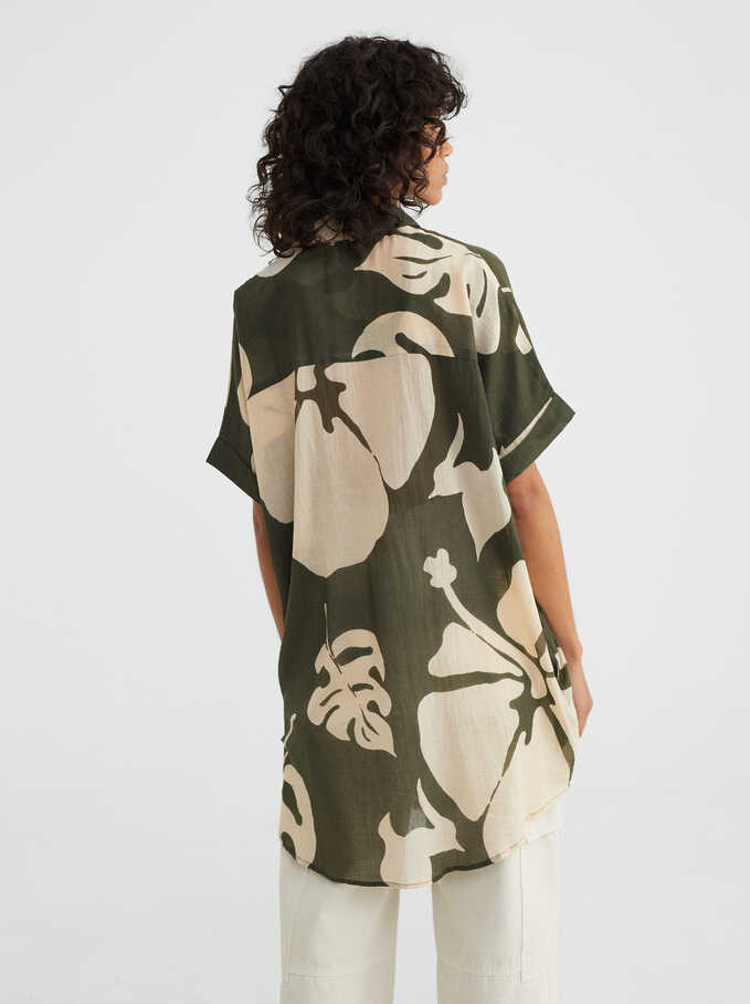 Leaf Print Dress, Khaki, hi-res