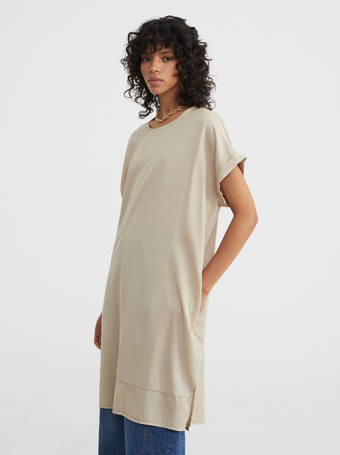 Online Exclusive Round-Neck Dress, Beige, hi-res