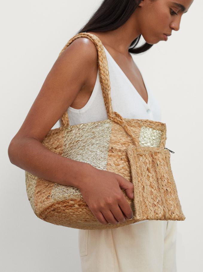 Jute Tote Bag With Pendant, Beige, hi-res