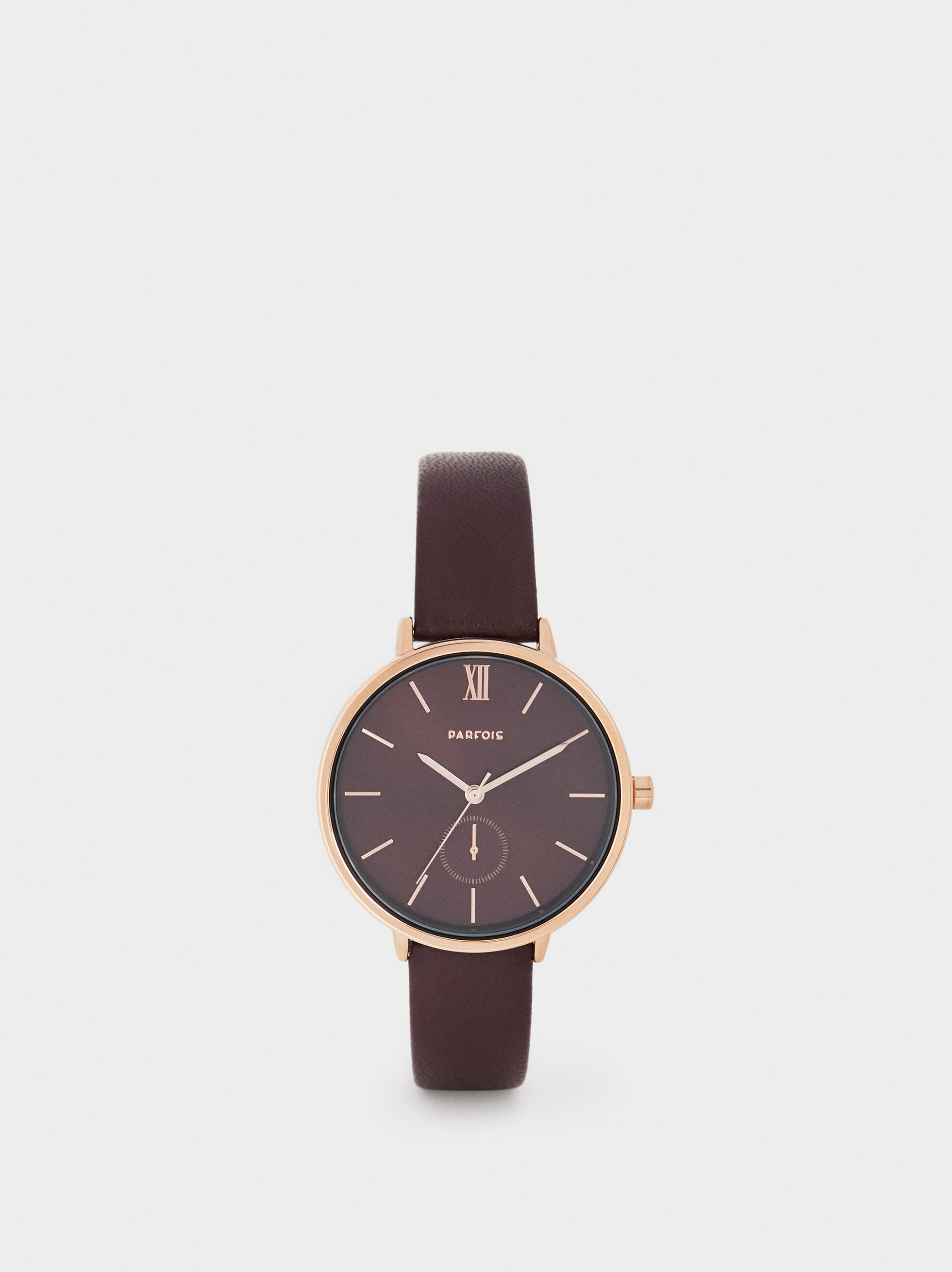 Watch With Burgundy Wristband And Dial, Brown, hi-res