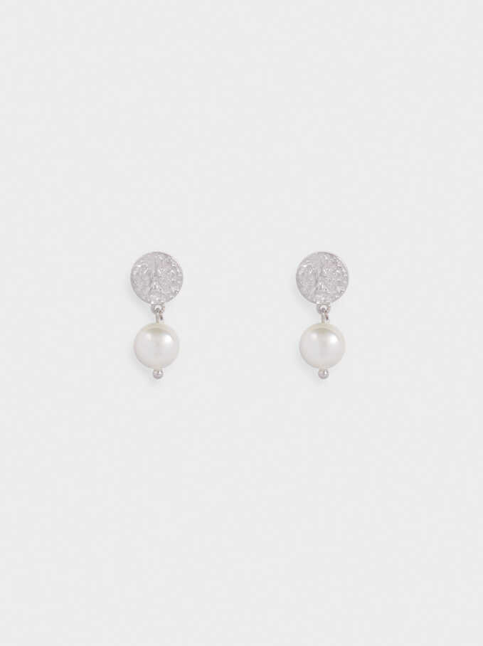Short 925 Silver Earrings With Faux Pearls, Silver, hi-res