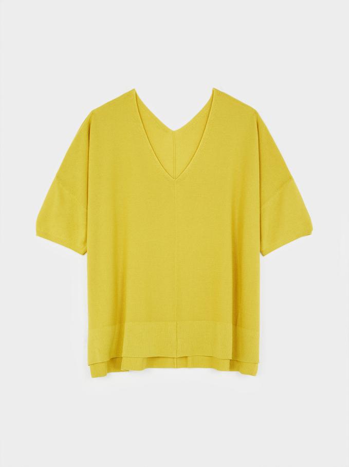 Camisola De Malha Reversível Com Decote Em Bico, Amarelo, hi-res