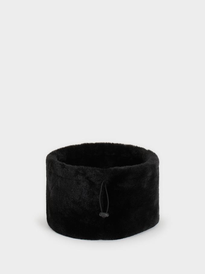 Adjustable Faux Fur Snood, Black, hi-res