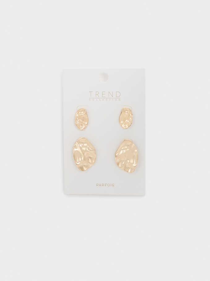 Set Of Raised Effect Earrings, Golden, hi-res