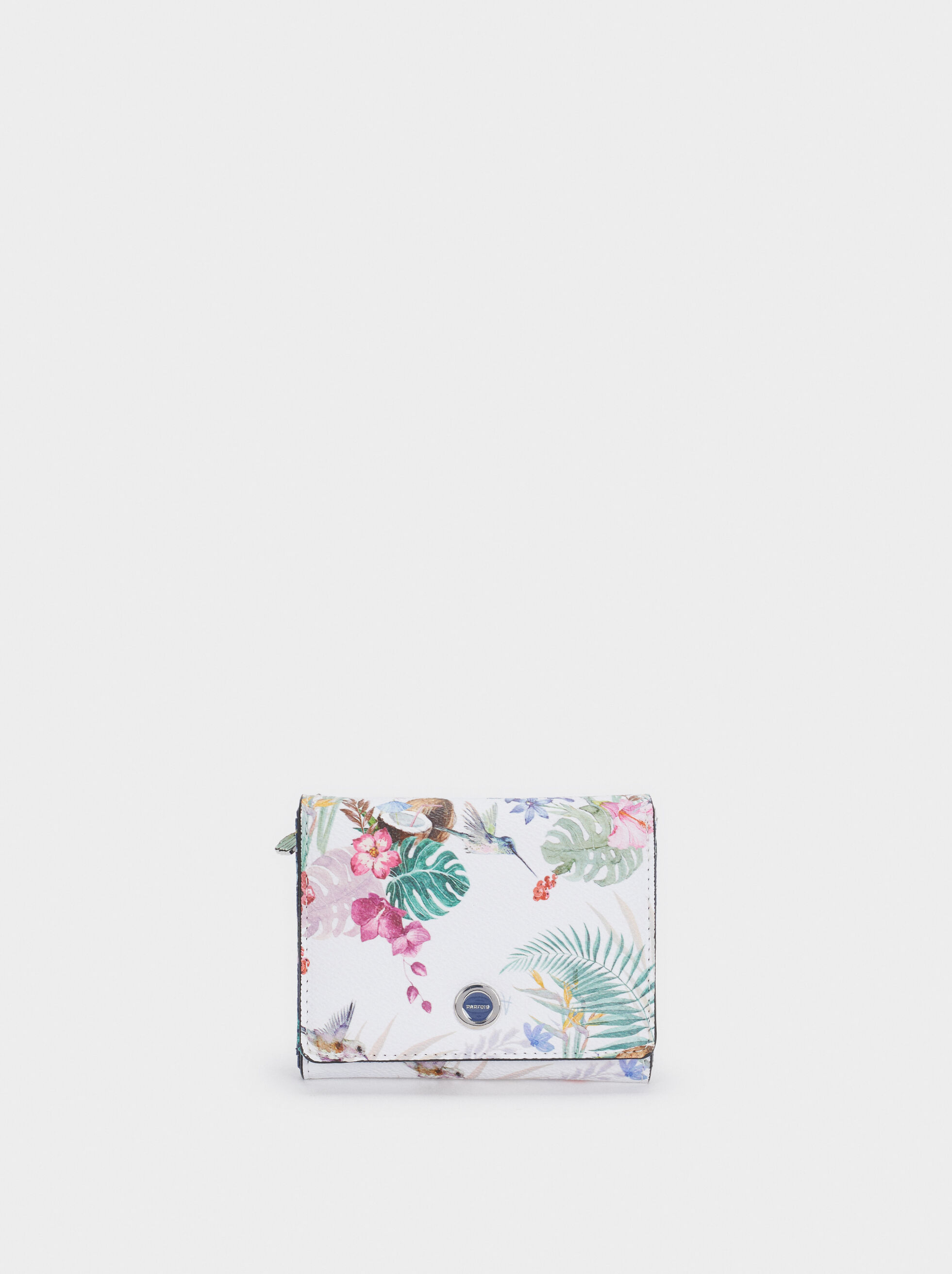Porte-Monnaie Imprimé Floral, Bleu Foncé, hi-res