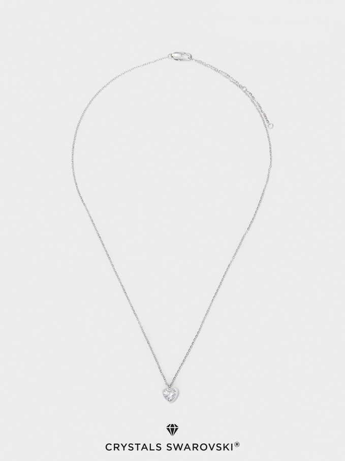 Short Silver Stainless Steel Necklace With Swarovski Crystals, Silver, hi-res