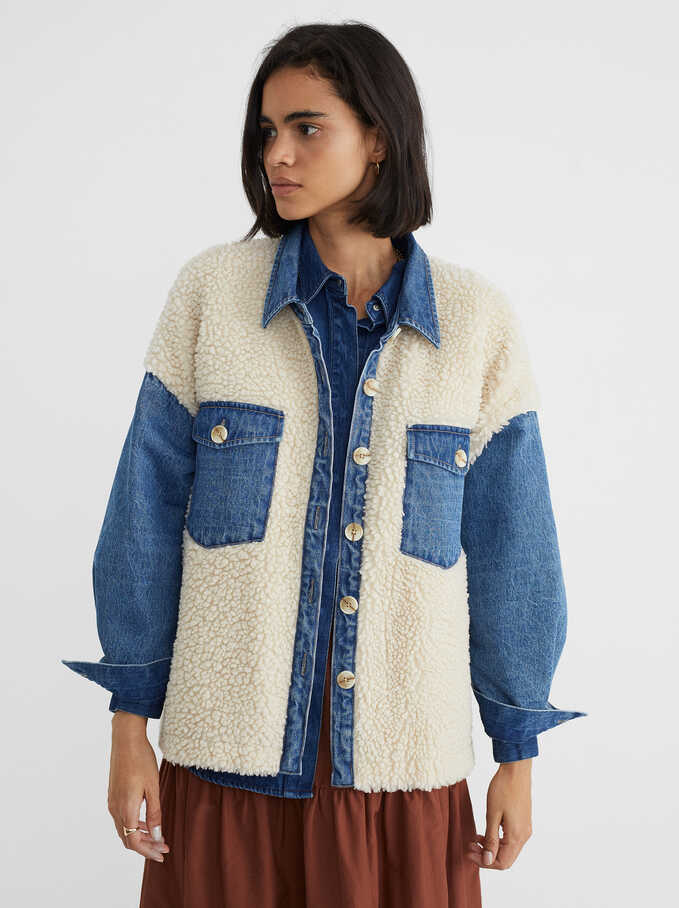 Jacket With Faux Shearling And Denim Details, Blue, hi-res