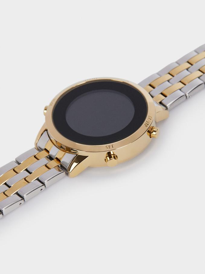 Reloj Digital Correa De Acero, Dorado, hi-res