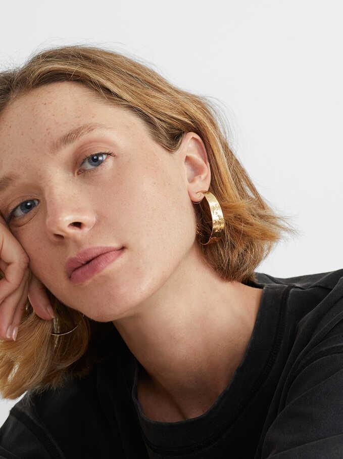 Medium Gold Hoop Earrings, Golden, hi-res