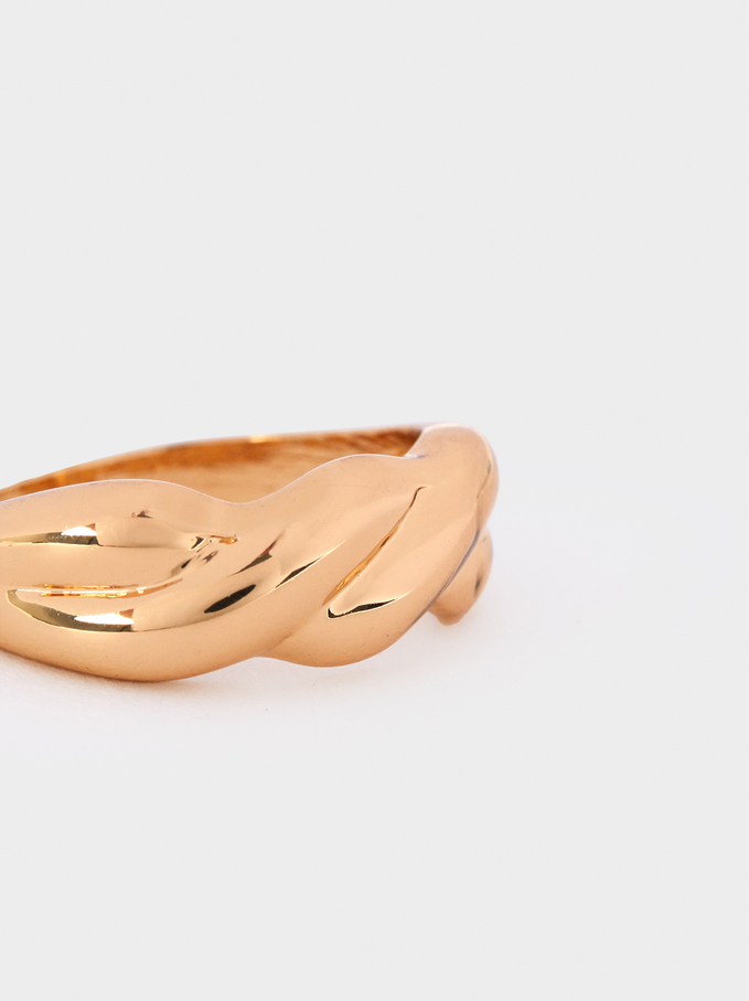 Gold Braided Ring, Golden, hi-res