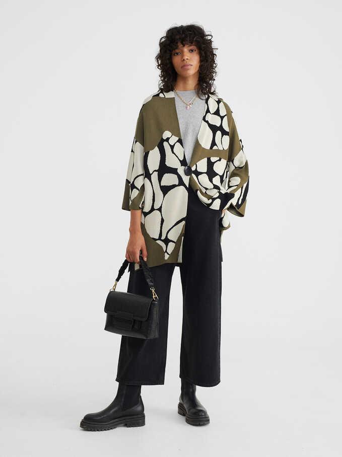 Jacquard Kimono, Khaki, hi-res