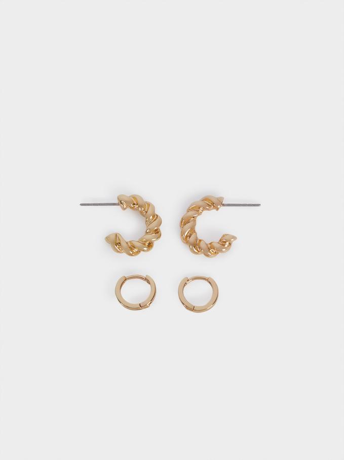Braided Hoop Earrings Set, Golden, hi-res