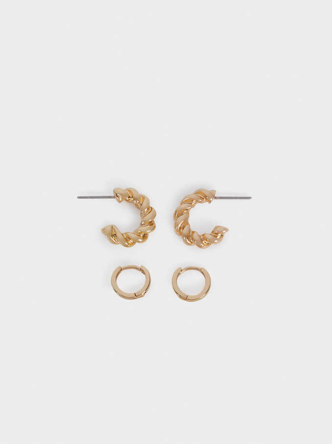 Braided Hoop Earrings Set, Golden, hi-res