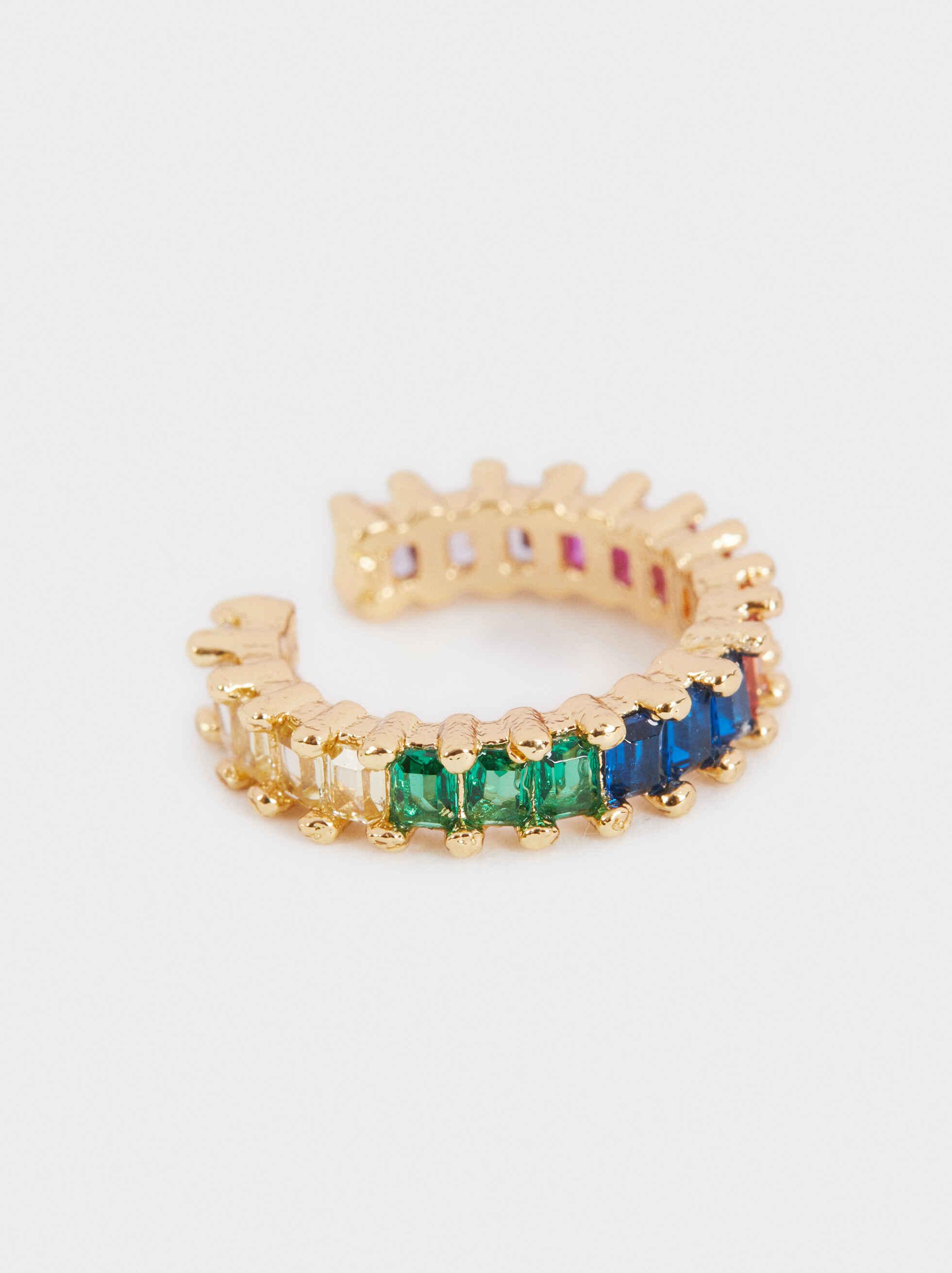Small Golden Earcuff, Multicolor, hi-res