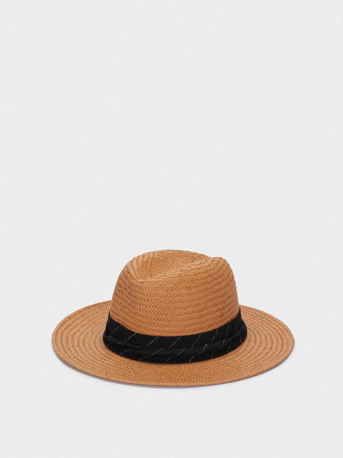 Textured Straw Hat With Contrast Band, Orange, hi-res