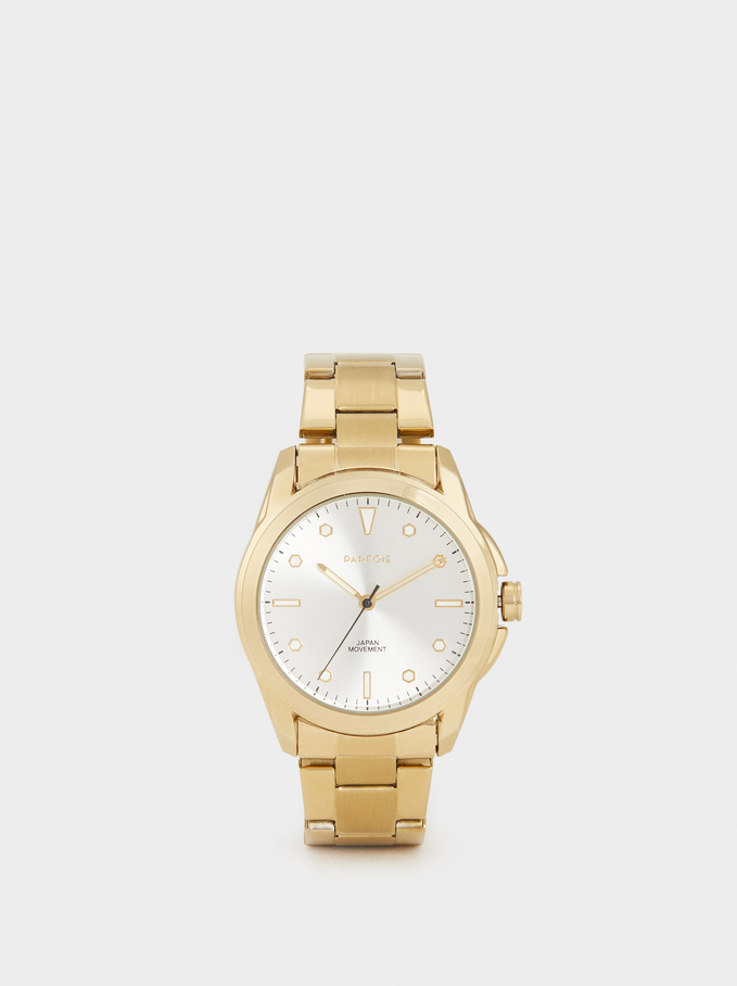 Watch With Steel Strap, Golden, hi-res