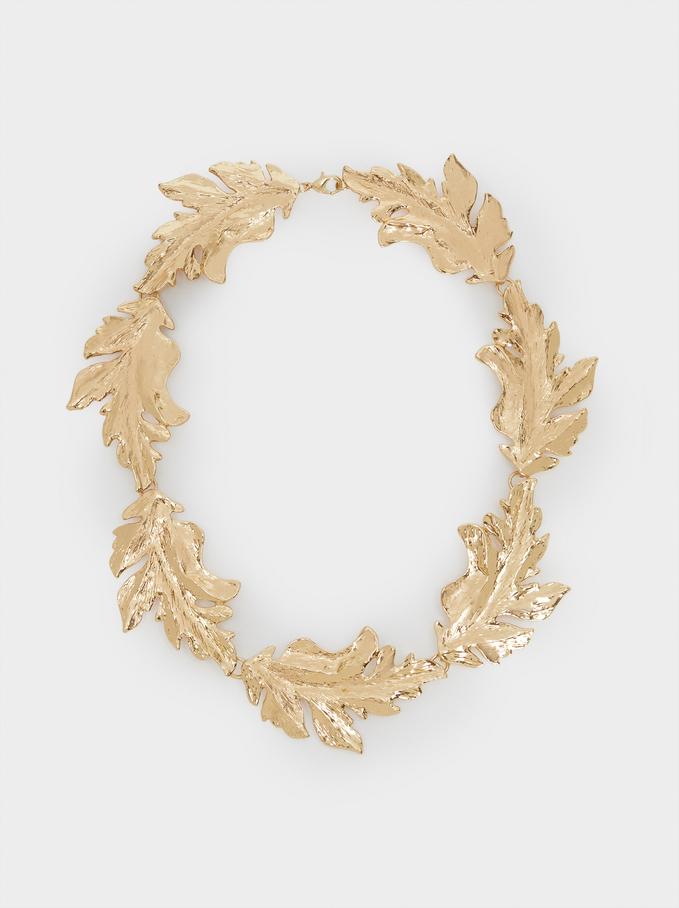 Short Gold Leaf Necklace, Golden, hi-res