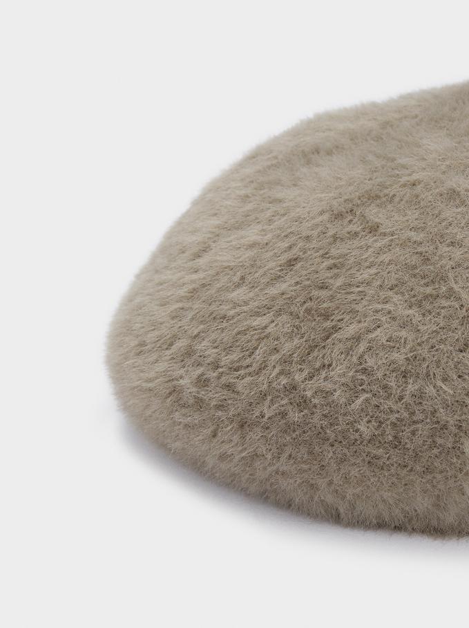 Wool Beret, Brown, hi-res