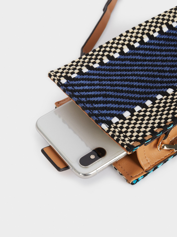 Phone Case With Shoulder Strap, Blue, hi-res