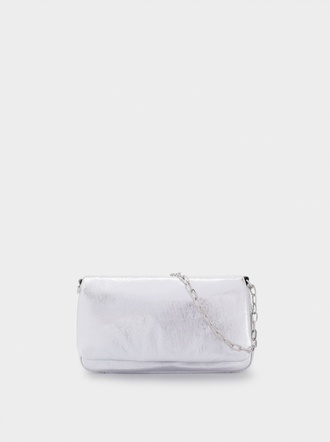 Party Handbag With Chain Handle, Silver, hi-res