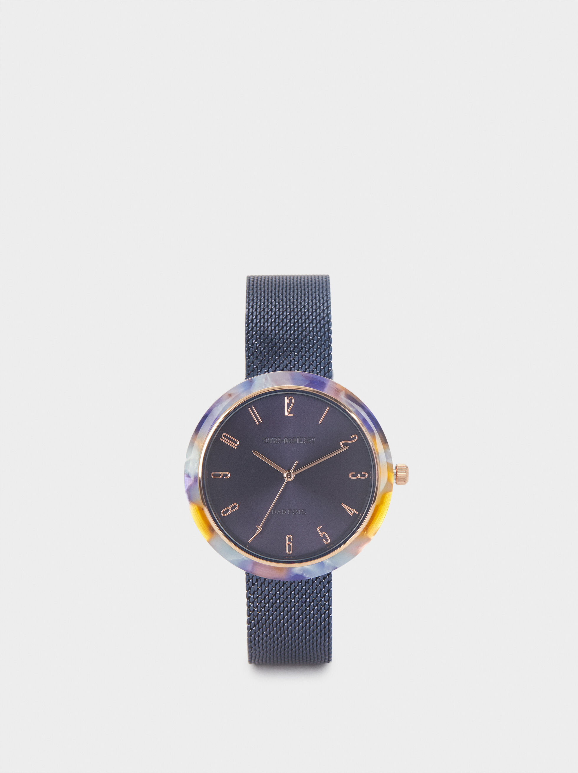 Watch With Metallic Mesh Strap, Blue, hi-res