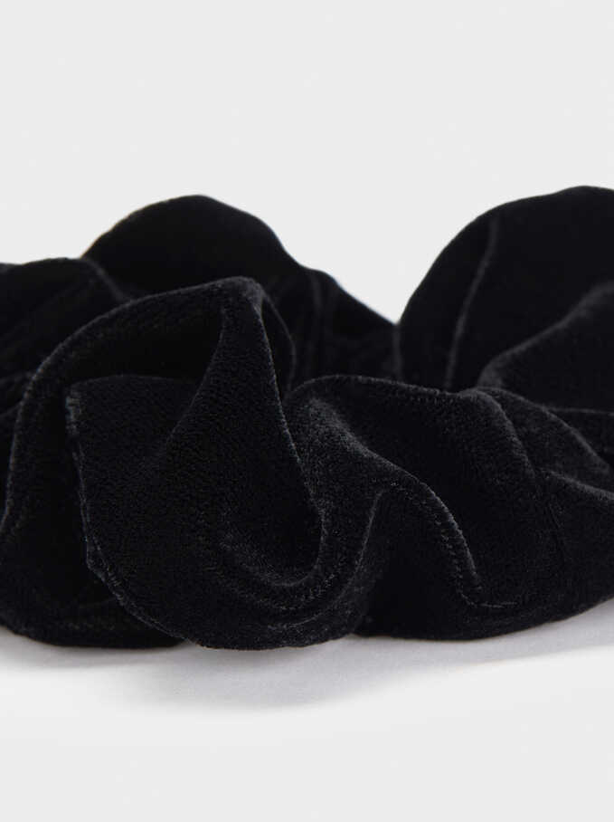 Velvet Scrunchie, Black, hi-res