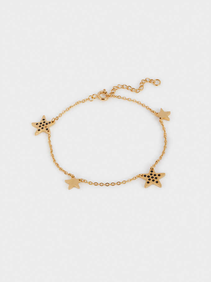 Stainless Steel Bracelet With Stars And Crystals, Golden, hi-res