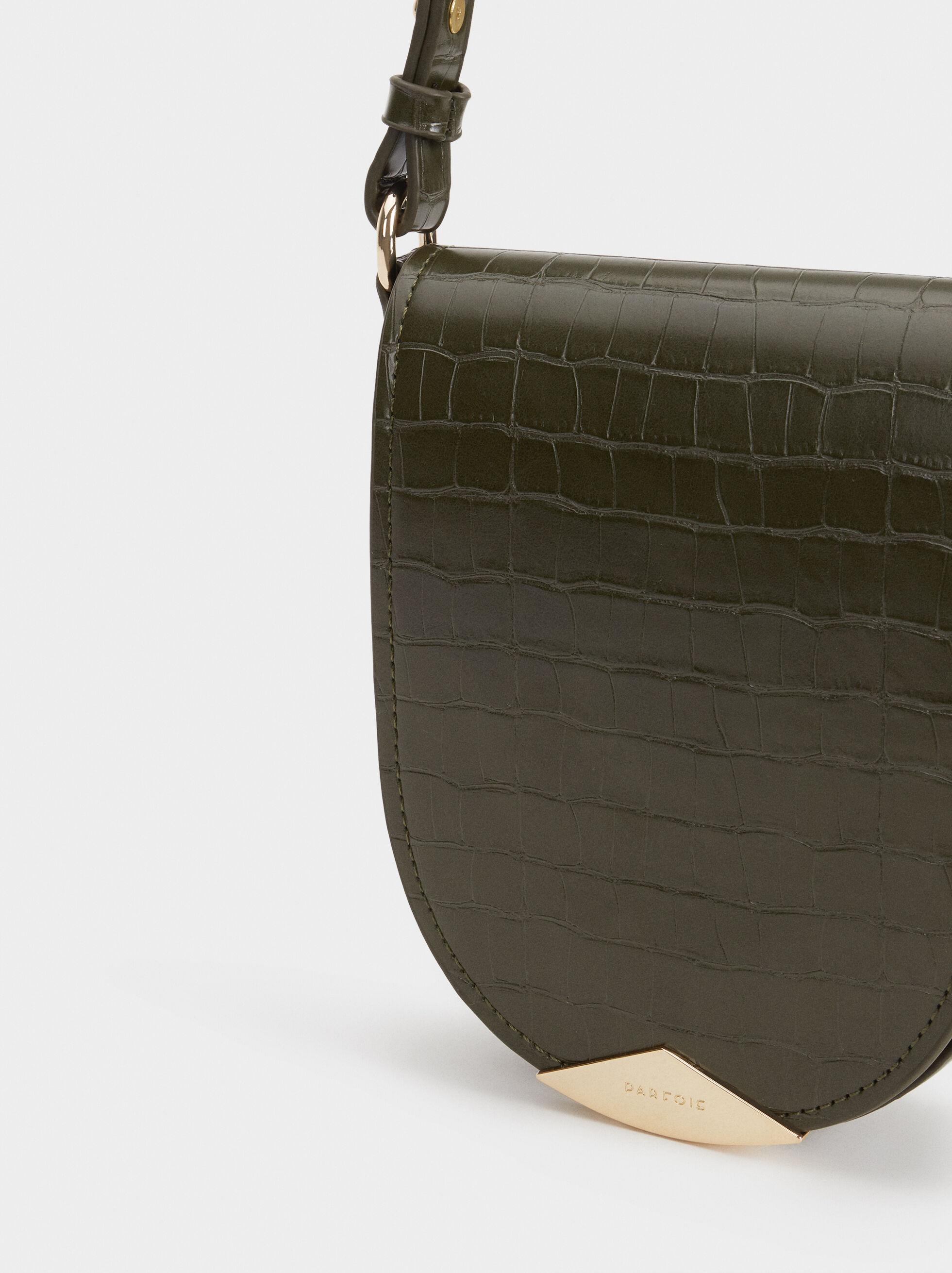 Reptile Embossed Crossbody Bag, Khaki, hi-res