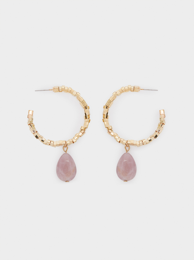 Large Hoop Earrings With Stone, Pink, hi-res
