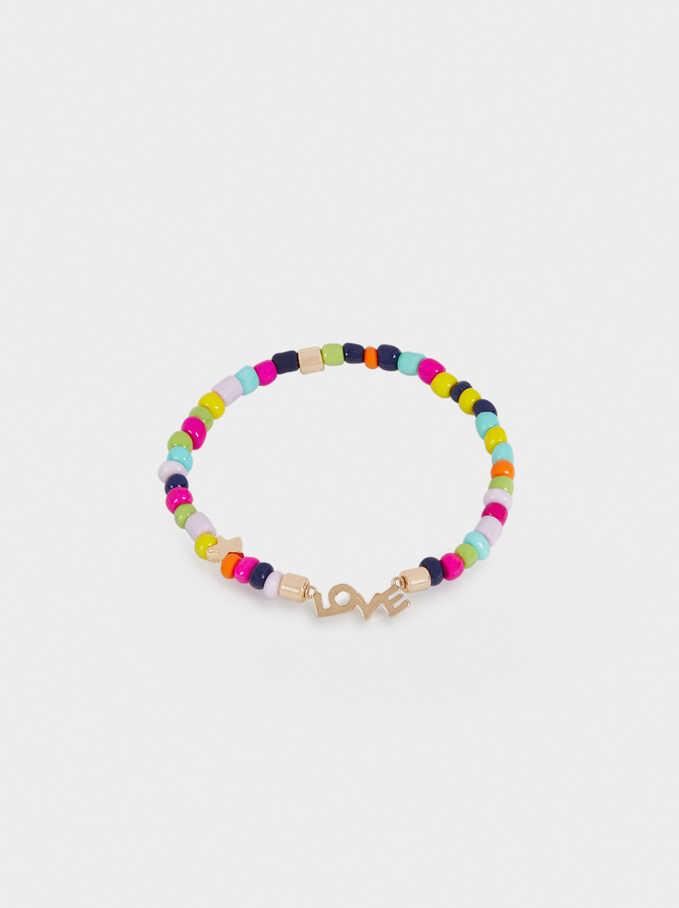 Elastic Bead Love Bracelet, Multicolor, hi-res