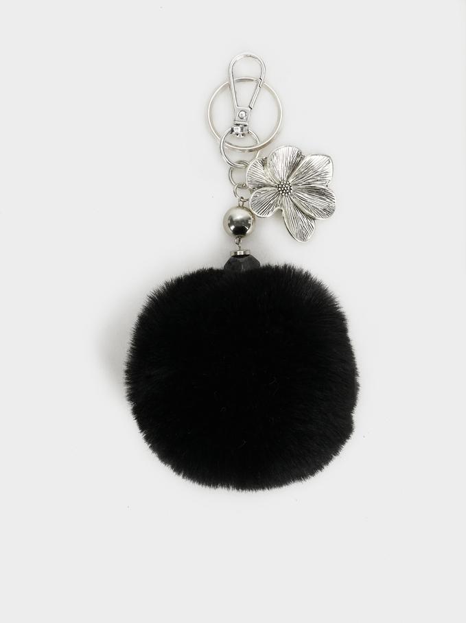 Pompom Keychain, Black, hi-res