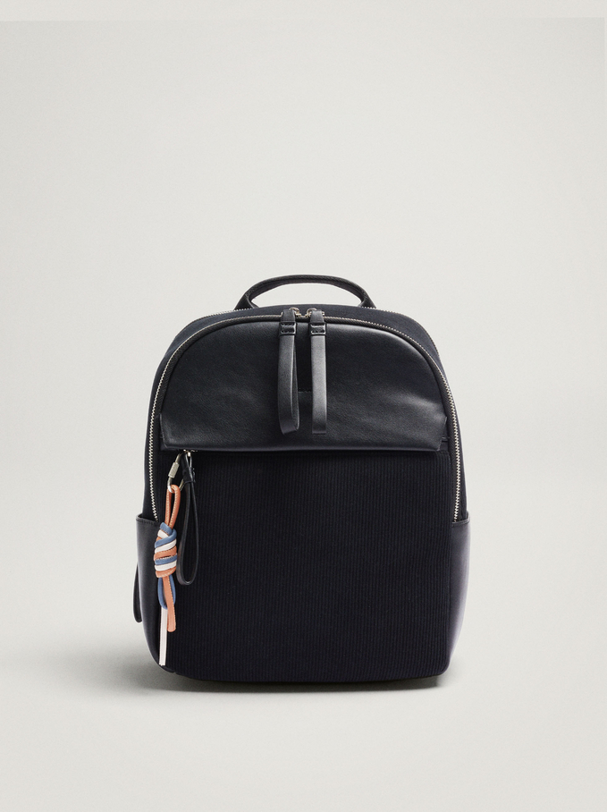 Contrasting Backpack With Pendant, Black, hi-res