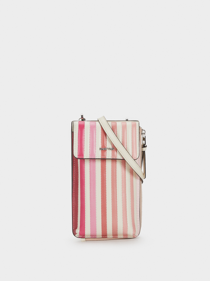 Striped Mobile Phone Carrying Case, Pink, hi-res