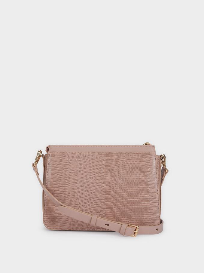 Adjustable Crossbody Bag With Embossed Animal Print, Pink, hi-res