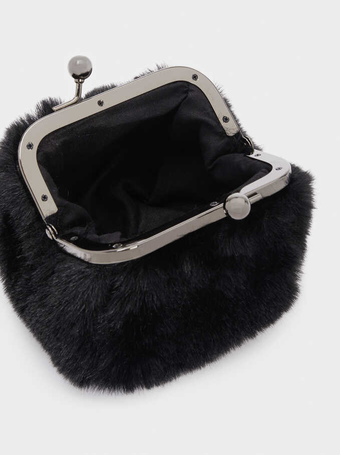 Faux Fur Purse With Clasp Fastening, Black, hi-res