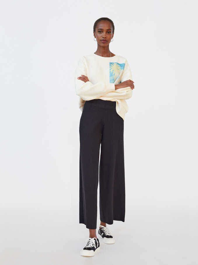 Limited Edition Knit Wide-Leg Trousers, Black, hi-res
