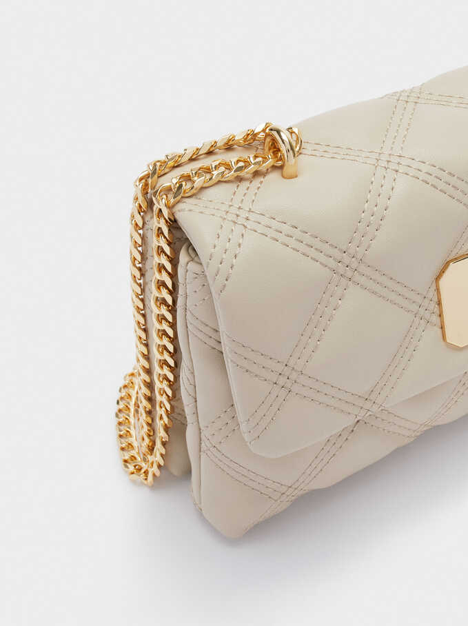 Shoulder Bag With Contrast Strap, Ecru, hi-res
