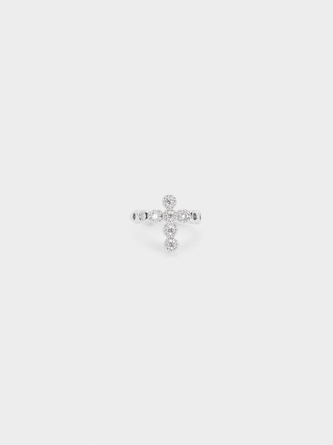 Boucle D'Oreille Ear-Cuff Avec Croix, Argent, hi-res