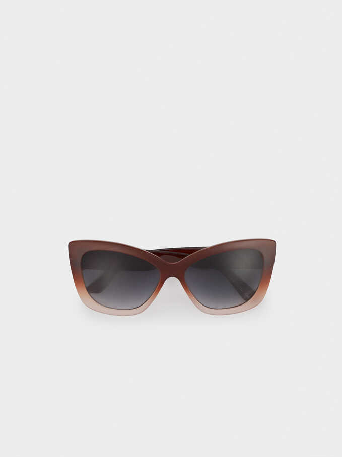 Resin Cat-Eye Sunglasses, Brown, hi-res