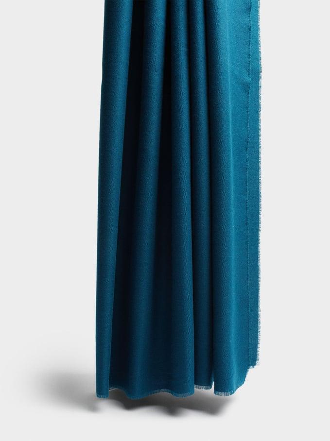 Plain Maxi Scarf, Blue, hi-res