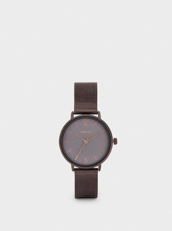 Watch With Metallic Mesh Strap, Brown, hi-res