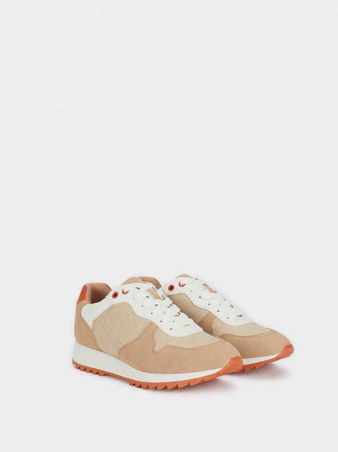 Running Taupe & Orange Sneakers, Brown, hi-res