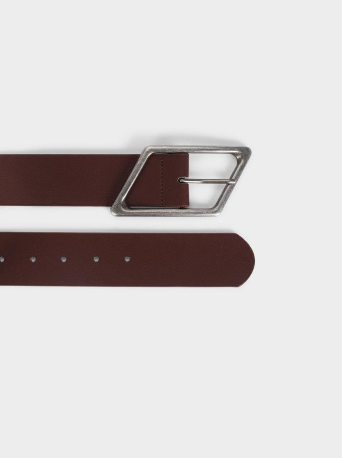 Cintura Semplice Con Fibbia, Bordeaux, hi-res