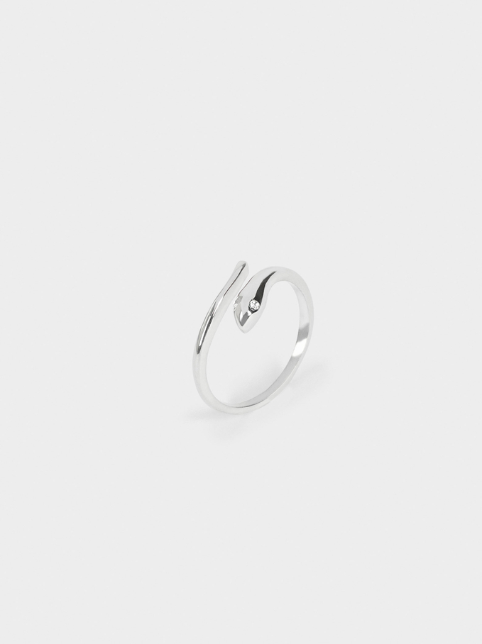 Snake Ring With Crystal, Silver, hi-res