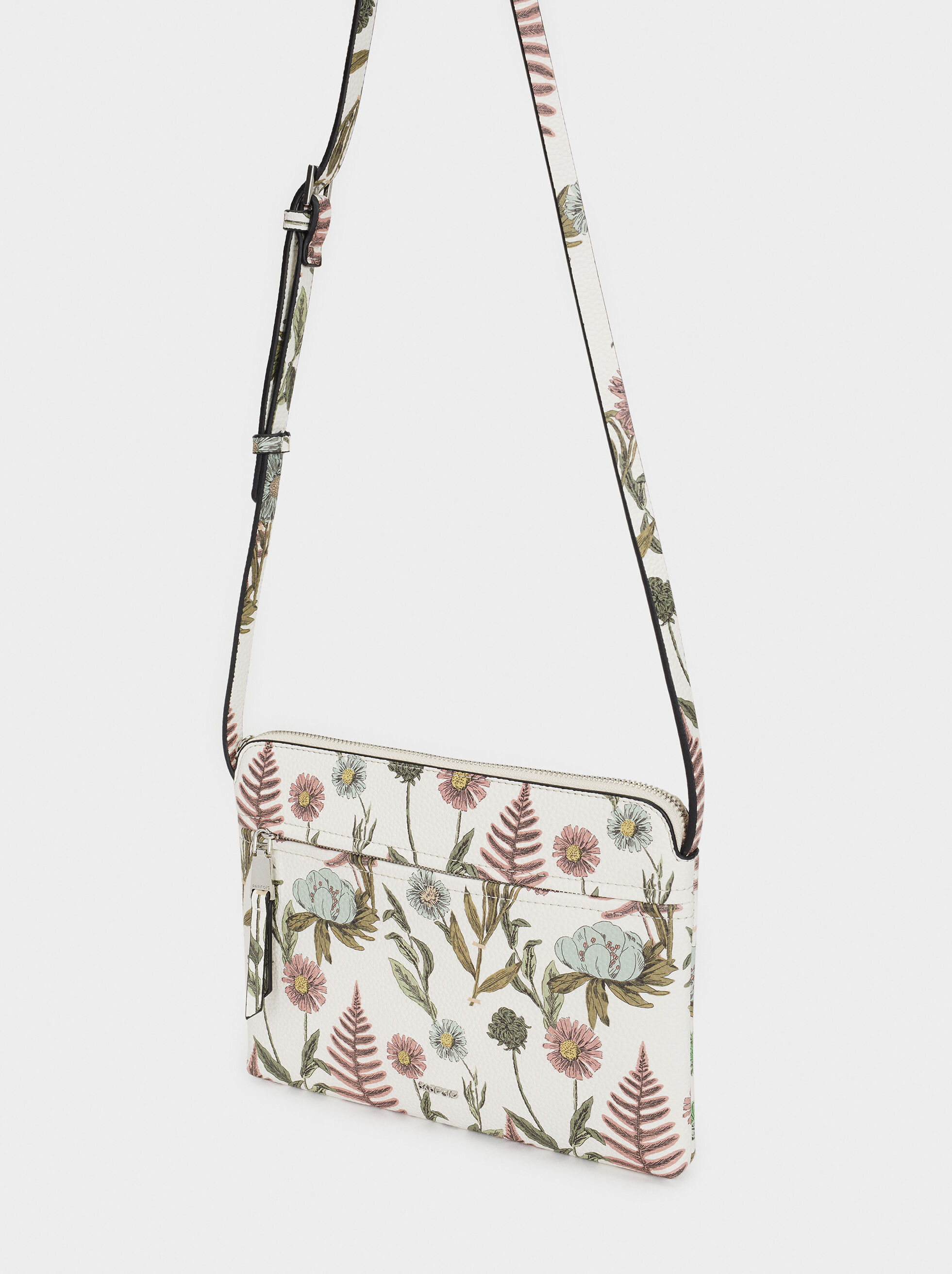 Floral Print Shoulder Bag, Ecru, hi-res